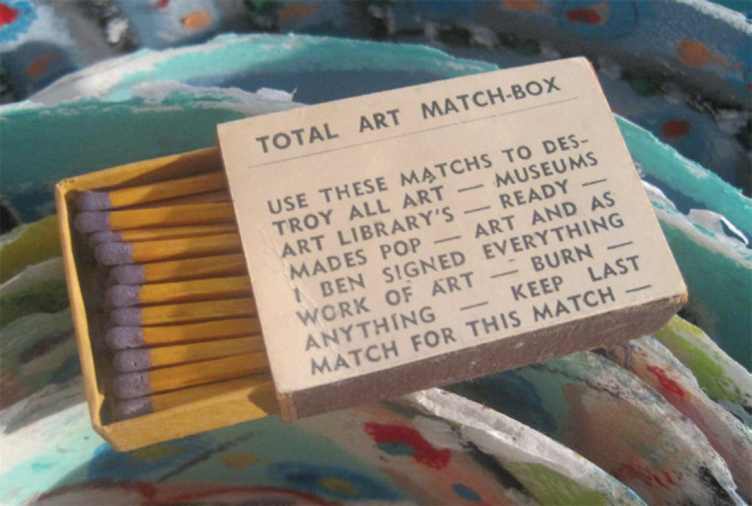 "Ben Vautier, Total Art Match-Box, 1965, matchbox with offset-printed paper label, 1 3/8 x 2 x 1/2"". From ""Debris from the Cultural Underground."""