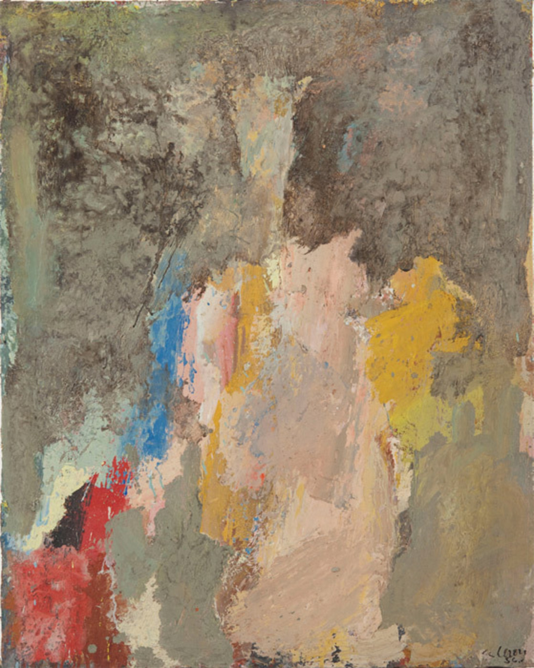 "Eugène Leroy, Nu rose (Pink Nude), 1956, oil on canvas, 32 1/4 x 25 5/8""."