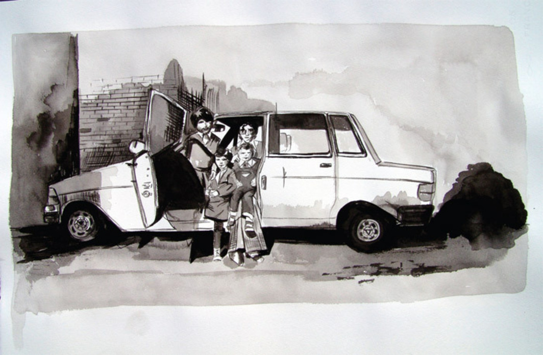 "Tamara Arroyo, Family Volvo, 2010, ink on paper, 15 x 22"". From the series Ejercicios de memoria III (Memory Exercises III), 2010."