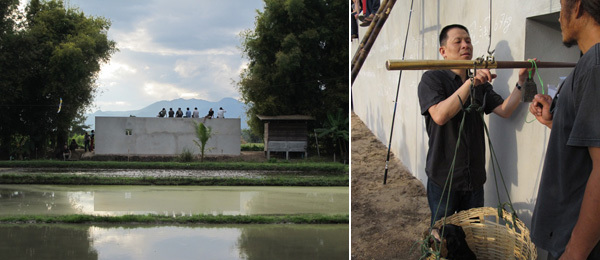 Left: Lin Yilin's at the Land. Right: Artist Lin Yilin. (All photos: Lee Ambrozy)