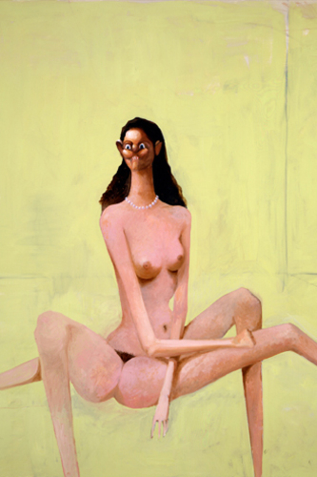 "George Condo, Spiderwoman, 2002, oil on canvas, 96 x 80""."