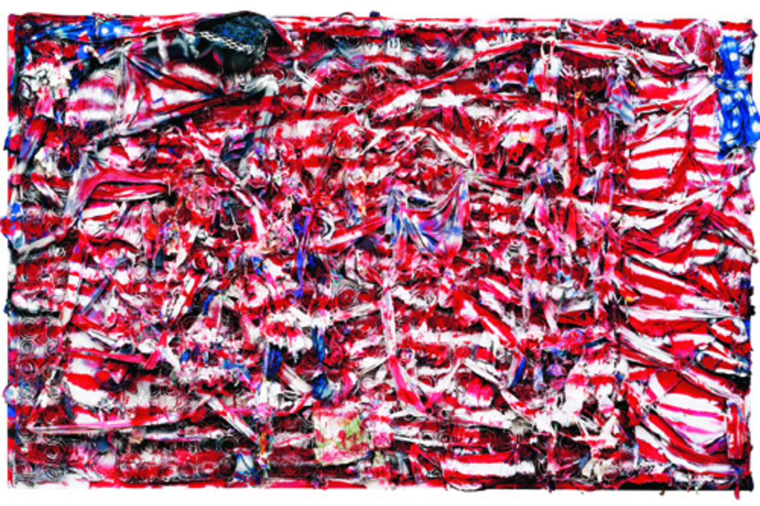 "Thornton Dial, Don't Matter How Raggly the Flag, It Still Got to Tie Us Together, 2003, mattress coils, clothing, can lids, found metal, plastic twine, wire, Splash Zone compound, enamel, spray paint on canvas on wood, 71 x 114 x 8""."