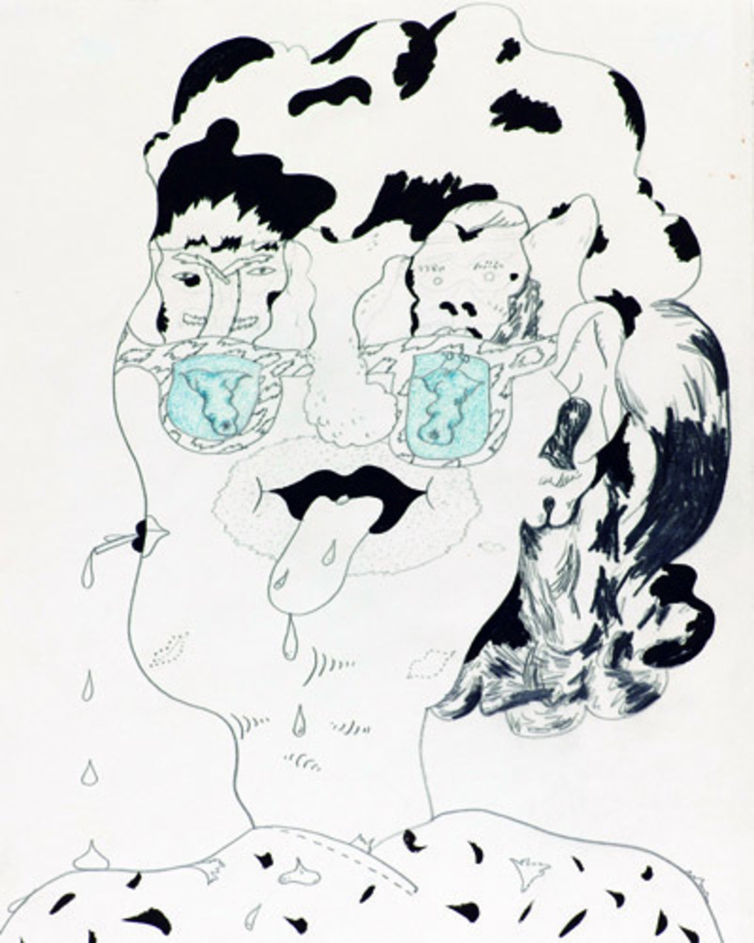 Jim Nutt, Drawing for Wiggly Woman, 1966, graphite, colored pencil, ink on paper, 12 1/2 x 9 5/8""