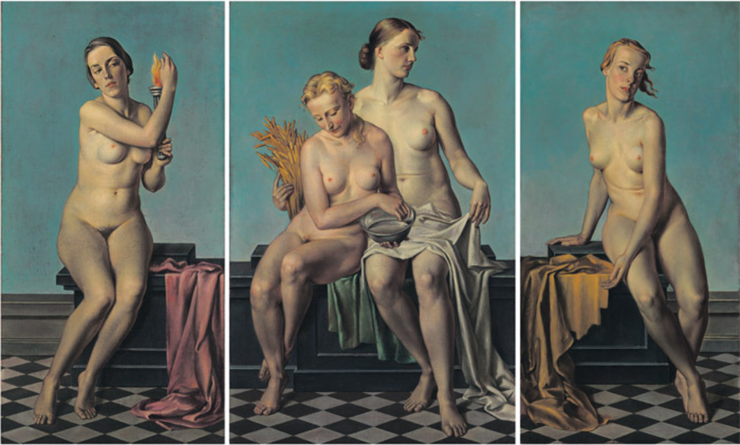 "Adolf Ziegler, Die vier Elemente. Feuer, Wasser und Erde, Luft (The Four Elements: Fire, Water and Earth, Air), ca. 1937, oil on canvas, three panels, from left: 67 x 33 1/2"", 67 3/8 x 75 1/8"", 63 1/2 x 30 1/8""."