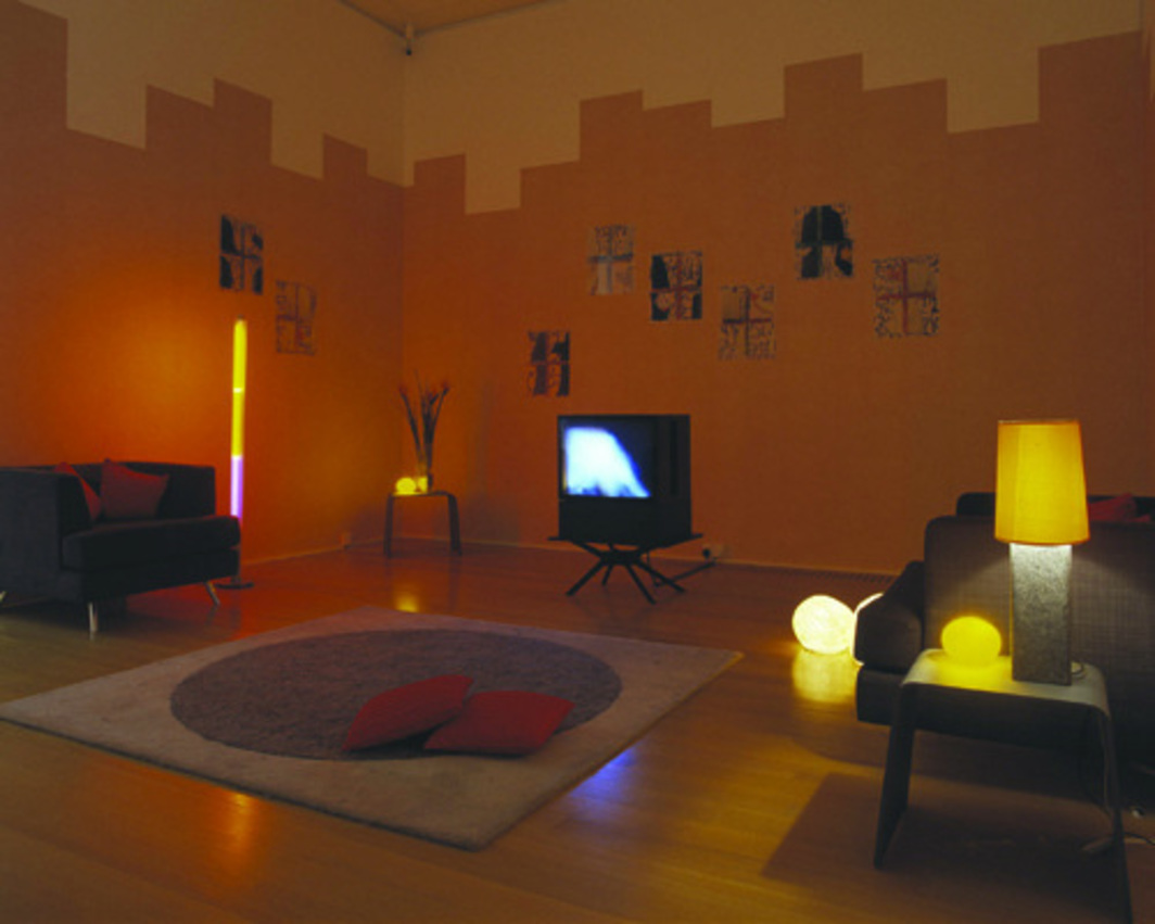 "Susan Hiller, Belshazzar's Feast, 1983–84, U-matic color videotape, PAL, 20 minutes; 12 C-type photographs cut out and mounted under perspex, over 12 gouache drawings on acetate sheets, mounted on wallpaper; overall dimensions variable, each mounted photograph 20 x 16 1/4""."