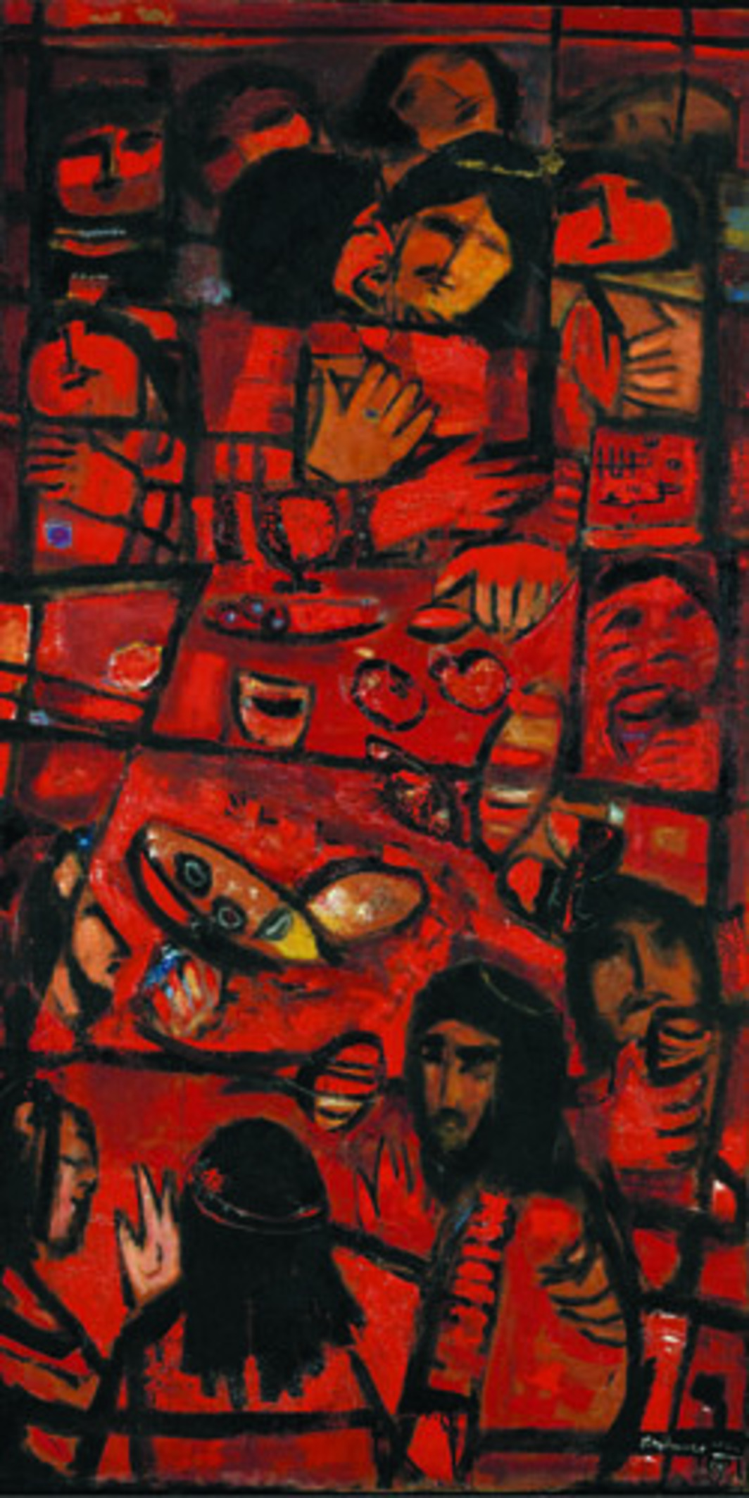 "Fateh al-Moudarres, The Last Supper, 1965, mixed media, 70 x 35""."