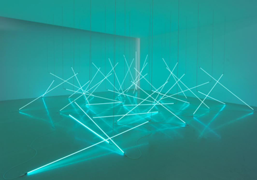 "François Morellet, L'Avalanche (The Avalanche), 1996, thirty-six blue neon tubes, white high-voltage cable, 157 x 157""."