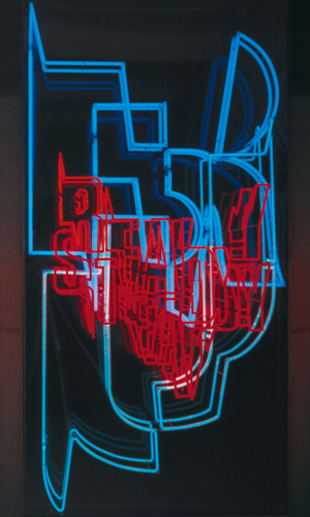 "KRIWET, Neon Text 2, 1973, high-voltage fluorescent tubes, anodized aluminium, perspex glass, 79 2/5 x 40 x 9 4/5""."
