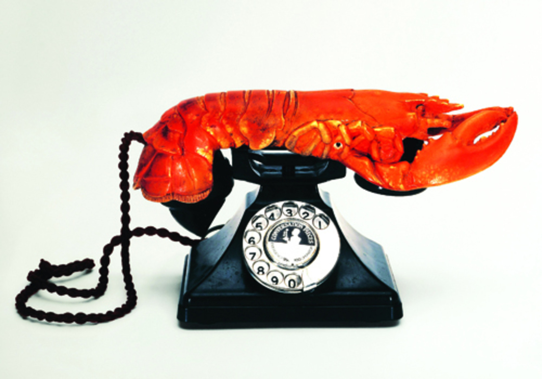 "Salvador Dalí, Aphrodisiac Telephone, 1936, mixed media, 7 x 4 7/8 x 12"". From ""Surreal Objects: Three-Dimensional Works from Dali to Man Ray."" © Fundació Gala-Salvador Dali/VG Bild-Kunst, Bonn."