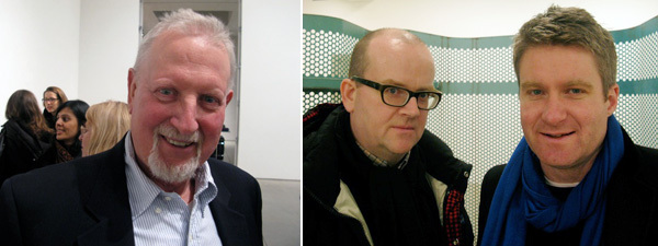 Left: Artist Joe Zucker. Right: White Columns's Matthew Higgs with dealer Toby Webster.