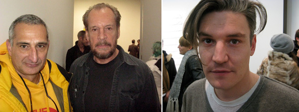 Left: Artists Christopher Wool and Larry Clark. Right: Artist Nate Lowman.