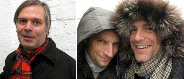 Left: Artist Rob Pruitt. Right: MoMA curator Christian Rattemeyer and MoMA PS1 curator Peter Eleey.