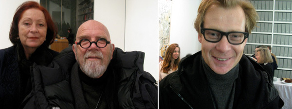 Left: Designer Britta Le Va with artist Chuck Close. Right: Dia Foundation director Philippe Vergne.