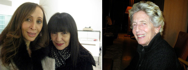 Left: Collector Amy Guttman with Performa director RoseLee Goldberg. Right: Artist Louise Fishman.