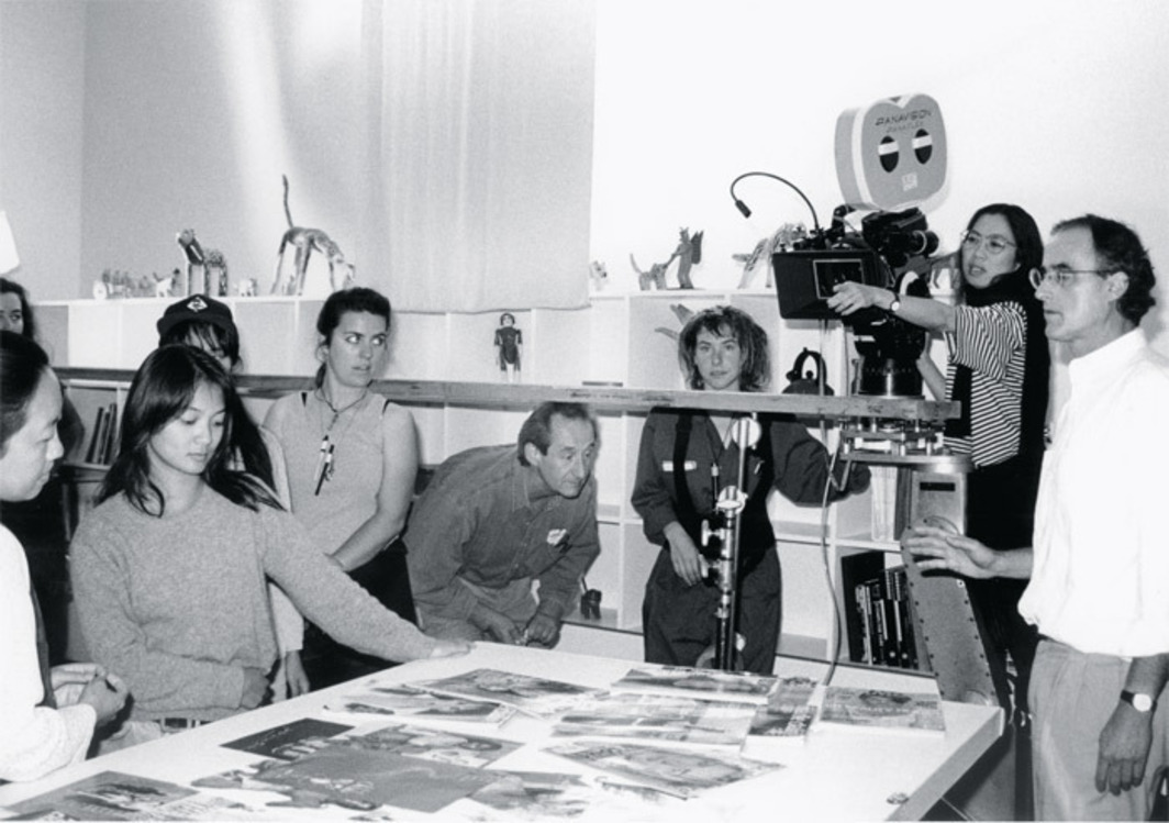 Trinh T. Minh-ha (with camera), codirector Jean-Paul Bourdier (right), and crew on the set of A Tale of Love, 1994.  Moon Gift Films, 1994.