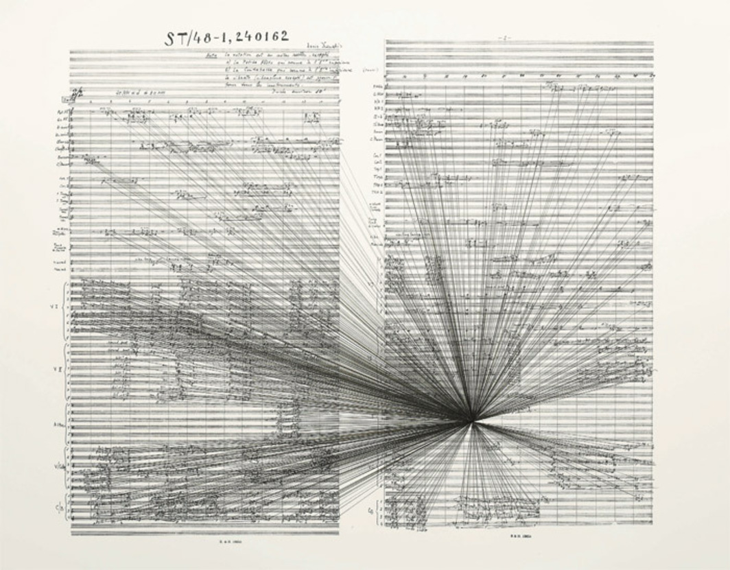 "Marco Fusinato, Mass Black Implosion (ST/48-1, 240162, Iannis Xenakis), 2007, ink on archival facsimile of score, 20 7/8 x 25 1/4"". From the series ""Mass Black Implosions,"" 2007–."