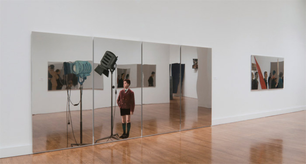 "View of ""Michelangelo Pistoletto: From One to Many, 1956–1974,"" 2010, Philadelphia Museum of Art. From left: Biennale 66, 1966; No all'aumento del tram (No to the Raise of the Tram Fare), 1965."
