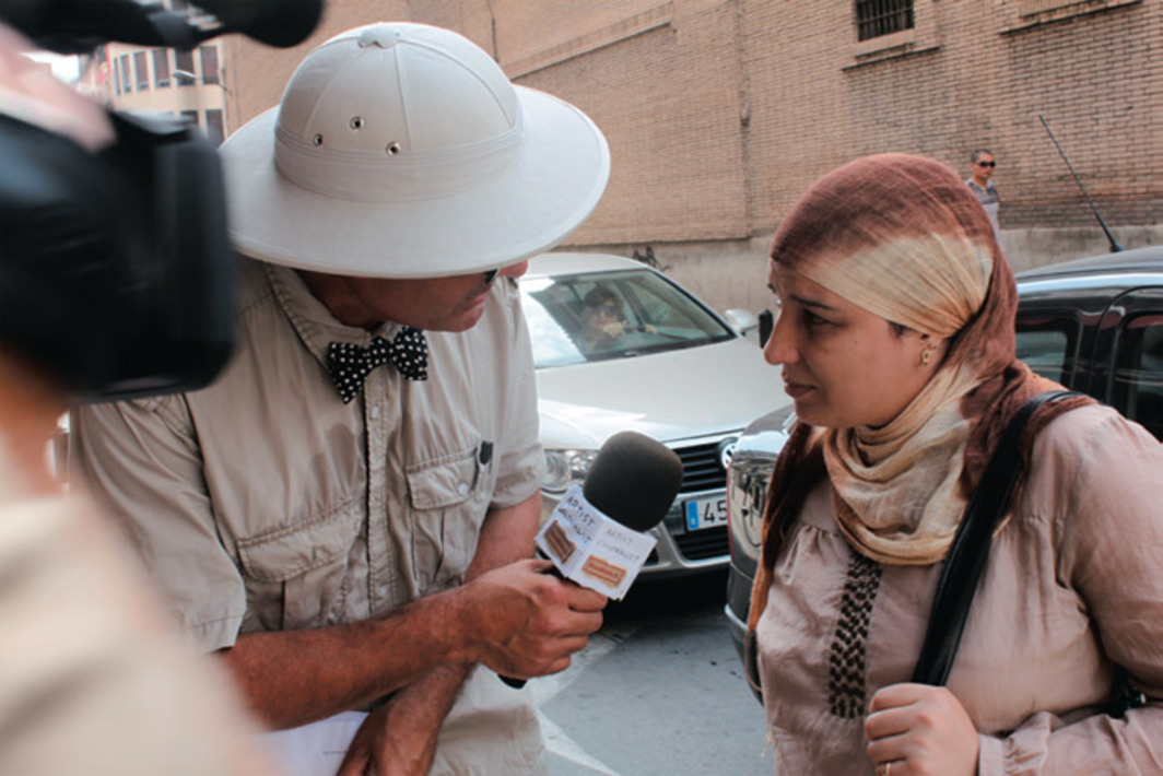 Thierry Geoffroy during the filming of his work Artist Colonialist Investigating for TV: Is There a Dialogue with the Spanish and You Northern African?, 2010, Murcia, Spain, 2010. Photo: Rian Lozano.