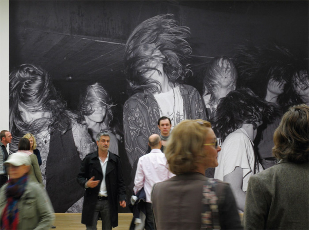 "*View of ""Not in Fashion,"" 2010, Museum für Moderne Kunst, Frankfurt.* On wall: Nigel Shafran, Moonflower Concert Onboard the Thekla Bristol, 1991. Photo: Axel Schneider."