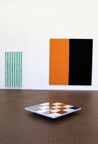 "View of ""Llama,"" 2010. From left: Ana Cardoso, untitled (interrupted green stripes), 2010; Ana Cardoso, untitled (orange