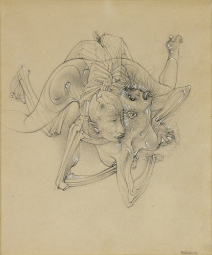 "Hans Bellmer, Love and Death, 1946, pencil and white gouache on tinted paper, 9 x 8""."
