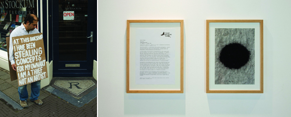 "Left: Navid Nuur, Untitled, 2001–2009, Performance view, The Hague, 2009. Right: Navid Nuur, Where You End and I Begin, 2011, ink on paper, 11 x 15"" each."