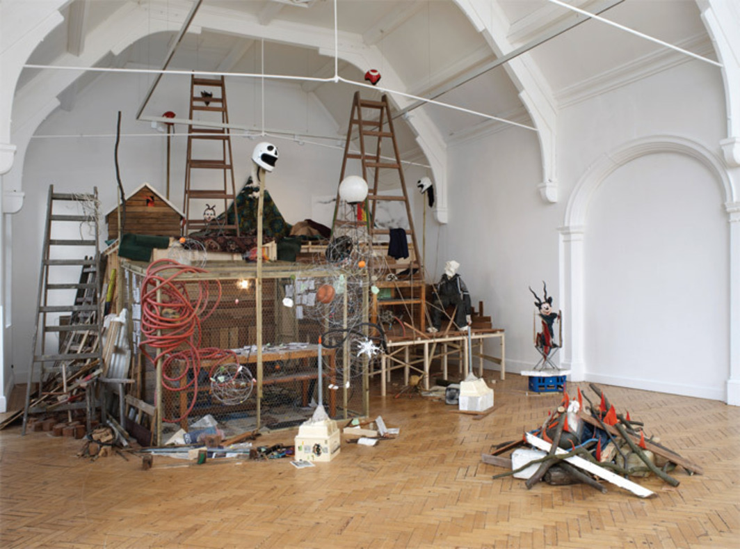 Mike Nelson, A studio apparatus for Camden Arts Centre; an introductory structure: Introduction, a lexicon of phenomena and information association, futur-objectics, (in three sections), mysterious island*, or Temporary monument, 1998, mixed media. Installation view, 2010. Photo: Andy Keate.