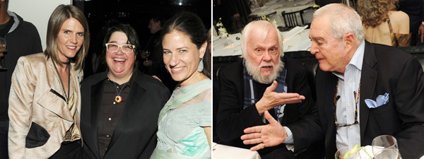 Left: Colleen Bell, artist Catherine Opie, and Katherine Ross. Right: Artist John Baldessari with collector Irving Blum.