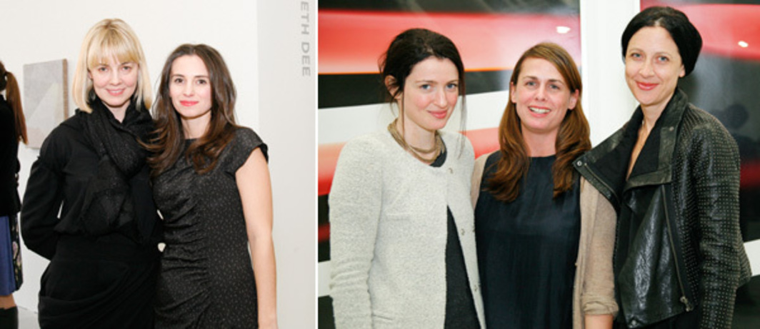 Left: Independent founders Elizabeth Dee and Jayne Drost. Right: Dealers Jane Hait, Tanya Leighton, and Janine Foeller. (Photos: Irina Rozovsky)