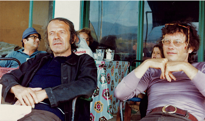 Gilles Deleuze and Félix Guattari, Skyros, Greece, ca. 1980. Photo: Karl Flinker.
