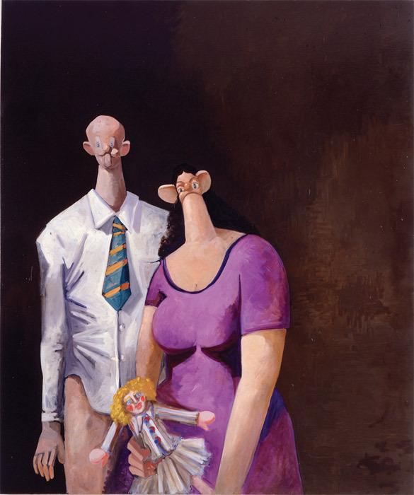 "George Condo, The Stockbroker, 2002, oil on canvas, 96 x 80""."
