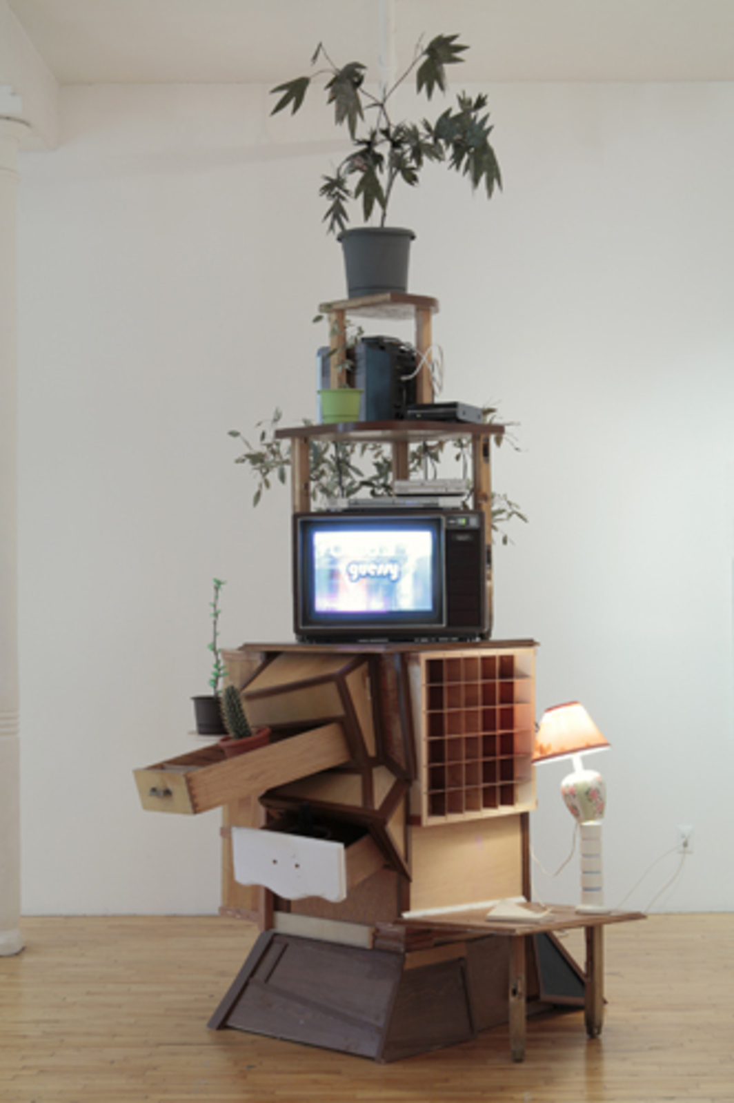 "David Snyder, Medium Power, 2011, wood, books, lamp, monitors, CD player, DVD players, mixed media, plants, 53 x 24 x 22""."