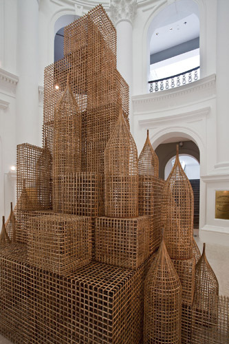 Sopheap Pich, Compound (detail), 2011, bamboo, rattan, plywood, metal wire, dimensions variable.