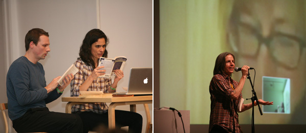 Left: Ben Williams and Victoria Vazquez of Elevator Repair Service. Right: Poet Eileen Myles. (Photos: Brett W. Messenger)