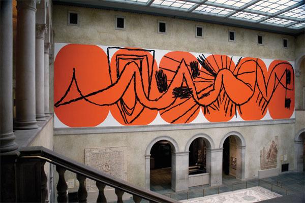 Charline von Heyl, Untitled (Wall at WAM), 2010, acrylic and latex paint, 17 x 67'.