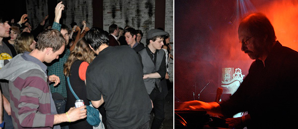 Left: The crowd at Public Assembly in Williamsburg. Right: Sound artist Alan Howarth. (All photos: Jude Broughan)
