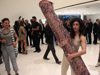Maria Hassabi performs at an opening for the Museo Soumaya