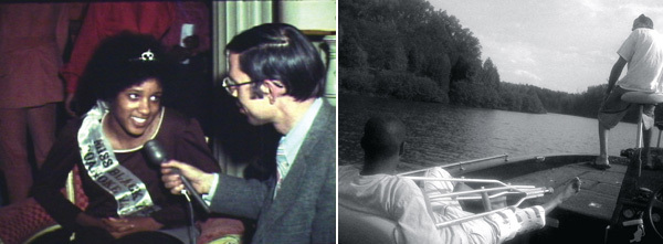 Left: Kevin Jerome Everson, Something Else, 2007, still from a color film in 16 mm, 2 minutes. Right: Kevin Jerome Everson, Old Cat, 2009, still from a black-and-white film in 16 mm, 11 minutes 25 seconds.