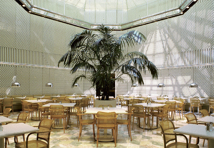 Kevin Roche John Dinkeloo and Associates, Union Carbide Corporation World Headquarters, 1976–82, Danbury, CT. Cafeteria interior.