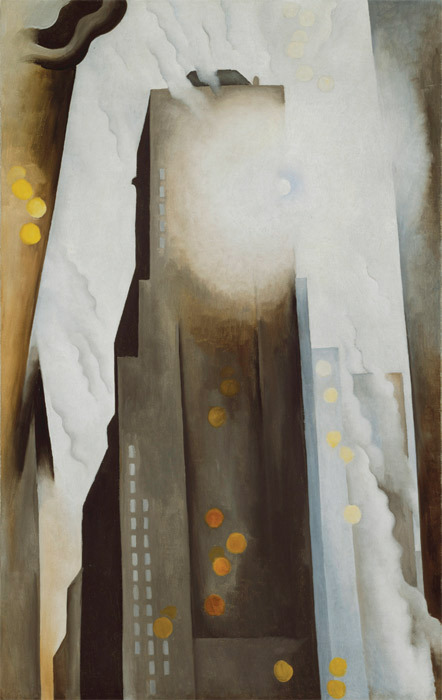 "*Georgia O'Keeffe, _The Shelton with Sunspots, N.Y._, 1926,* oil on canvas, 48 1/2 x 30 1/4"". © Georgia O'Keeffe Museum."