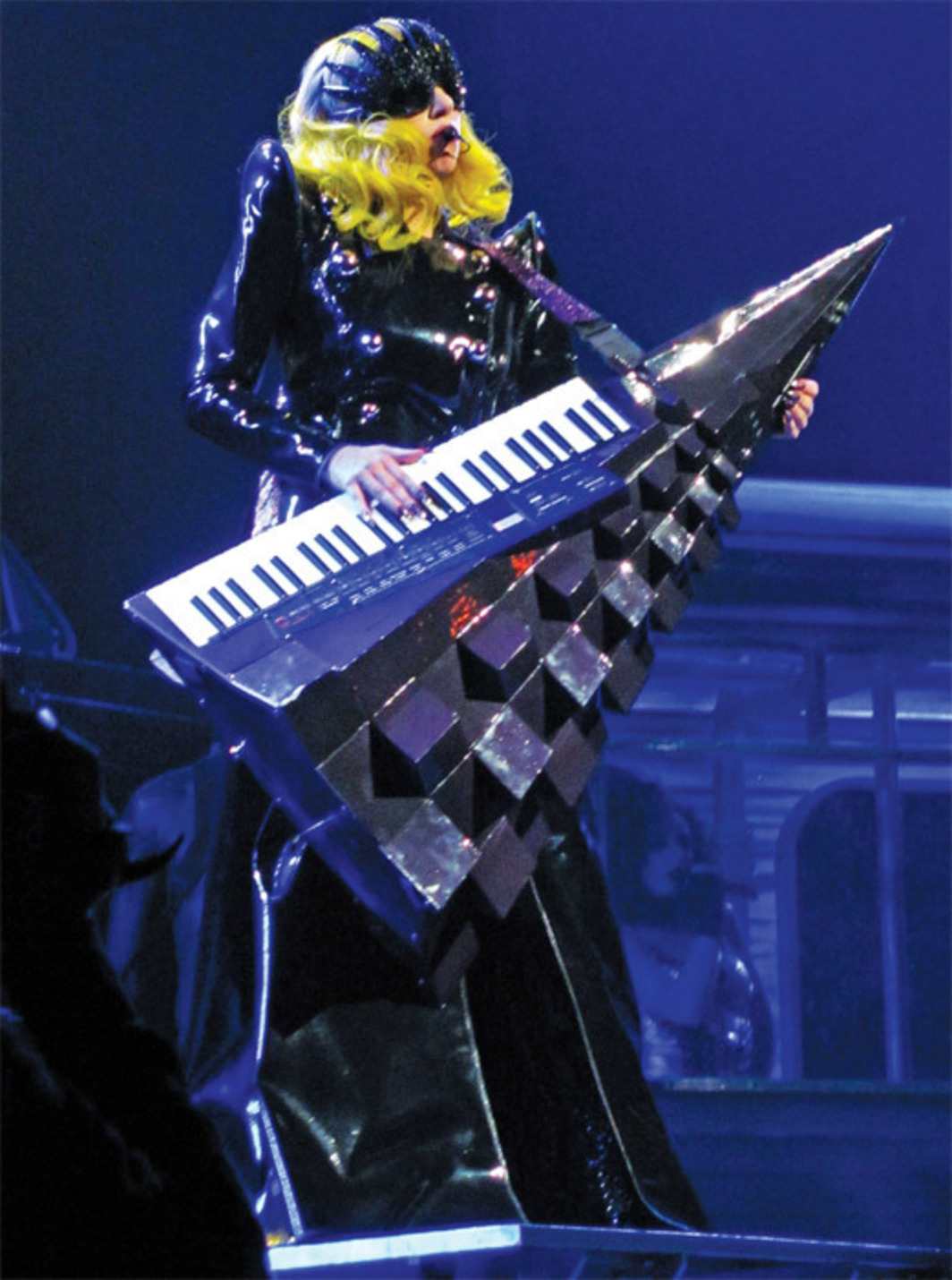 Lady Gaga playing a keytar during the Monster Ball Tour, Consol Energy Center, Pittsburgh, 2010. Photo: Anirudh Koul.