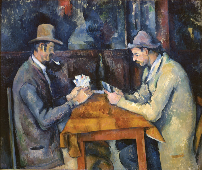 "Paul Cézanne, The Card Players, ca. 1892–96, oil on canvas, 23 5/8 x 28 3/4""."
