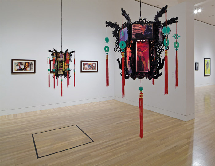 "View of ""Richard Hawkins: Third Mind,"" 2011, Hammer Museum, Los Angeles. From left: RRSPS, 1993; Crepuscule #3, 1994; SPP, 1993; Crepuscule #1, 1994. Photo: Fredrik Nilsen."