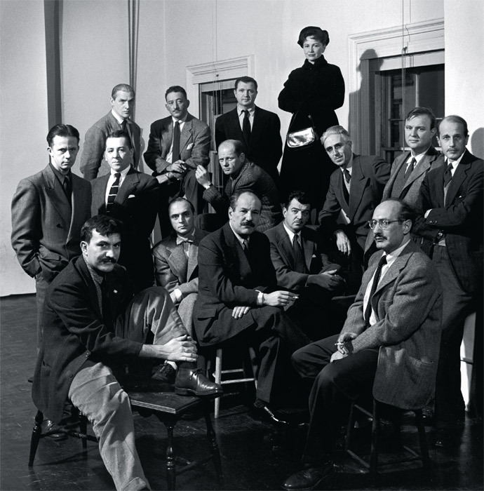 """The Irascibles,"" New York, 1950. Front row, from left: Theodoros Stamos, Jimmy Ernst, Barnett Newman, James C. Brooks, Mark Rothko. Middle row: Richard Pousette-Dart, William Baziotes, Jackson Pollock, Clyfford Still, Robert Motherwell, Bradley Walker Tomlin. Back row: Willem de Kooning, Adolph Gottlieb, Ad Reinhardt, Hedda Sterne. Photo: Nina Leen/Getty Images."