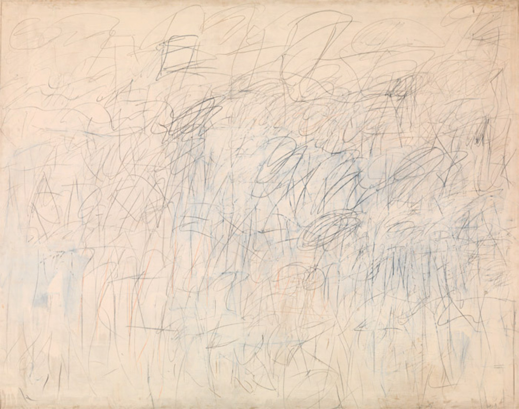"Cy Twombly, Academy, 1955, oil-based house paint, lead pencil, colored pencil, and crayon on canvas, 75 1/4 x 94 7/8""."