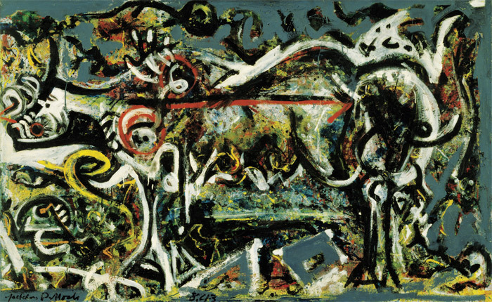 Jackson Pollock, The She-Wolf, 1943, oil, gouache, and plaster on canvas, 41 7/8 x 67. © Pollock-Krasner Foundation/Artists Rights Society (ARS), New York.