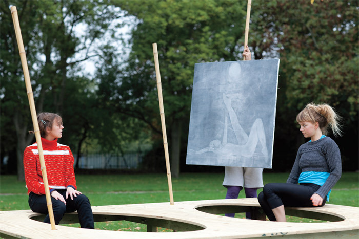 Ei Arakawa and Karl Holmqvist, pOEtry pArk (with a painting by Silke Otto-Knapp), 2010. Performance view, Regent's Park, London, October 15, 2010. Léa Tirabasso, Ei Arakawa, and Jenny Moule. Photo: Polly Braden.
