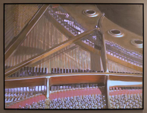 "Paul Kos, Beethoven Piano Sonata #13, 2009, video projection on paint, canvas, wood, 74 x 98""."