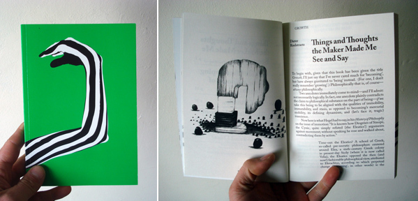 Left: Cover of Zin Taylor's Growth (2011). Right: A spread from Growth.