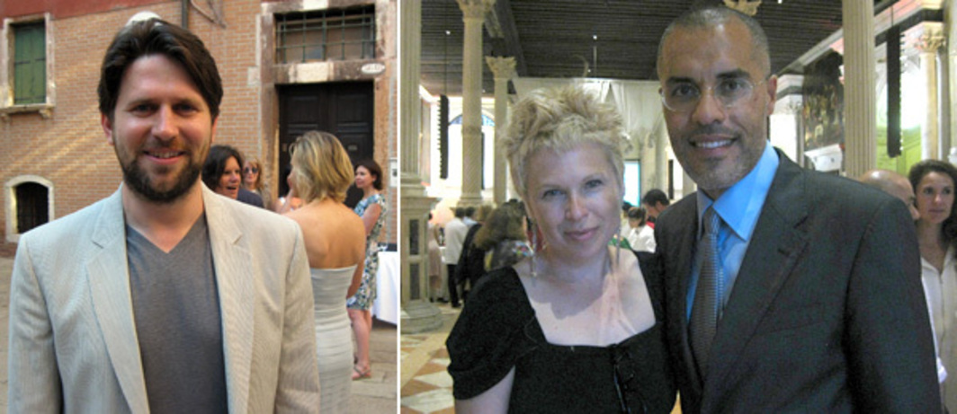 Left: Artist Anton Ginzburg. Right: Artist Sigalit Landau and dealer Kamel Mennour. (Photos: Kate Sutton)
